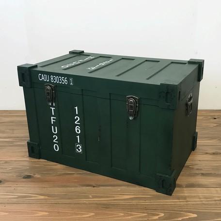 収納ボックス コンテナ型 M グリーン トランクケース インダストリアル 家具 男前 ヴィンテージ アンティーク カフェ シンプル