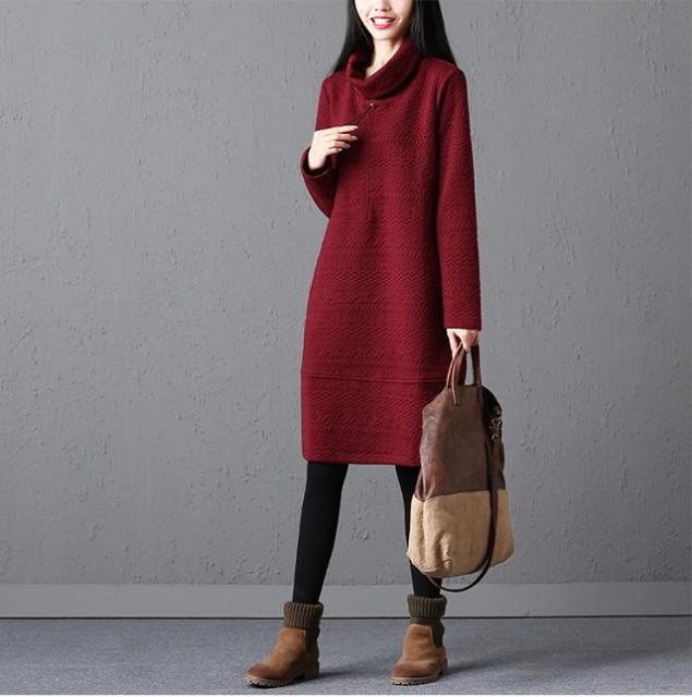 ハイネック ロングワンピース 綿混 レディース 長袖 大きいサイズ チュニック 体型カバー 秋冬