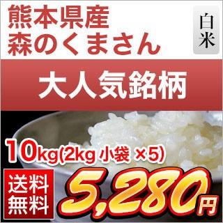 令和元年産(2019年) 熊本県産 森のくまさん 白米 10kg(2kg×5袋)【特A評価】【送料無料】【米袋は真空包装】