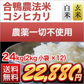 令和2年(2020年) 合鴨農法米 コシヒカリ 24kg(2kg×12袋)【特A評価】【白米・玄米選択】【送料無料】【米袋は真空包装】農薬及び化学肥
