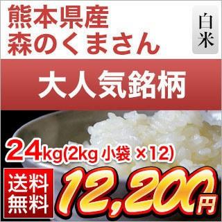 令和2年(2020年) 熊本県産 森のくまさん 白米 24kg(2kg×12袋)【特A評価】【送料無料】【米袋は真空包装】