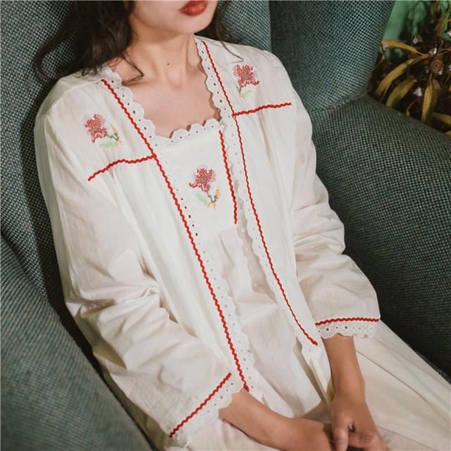 花の刺繍ネグリジェ+ガウン 35755 キャミワンピ 姫ロリ ロリィタ ナイトウェア 姫 2点セット ロリータファッション 部屋着