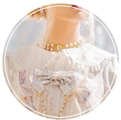 アクセサリ おで チェーン ビジュー ロリータ 上品 甘ロリ フェミニン 小物 通年 かわいい ファッション雑貨 35755 パールネックレス ホ