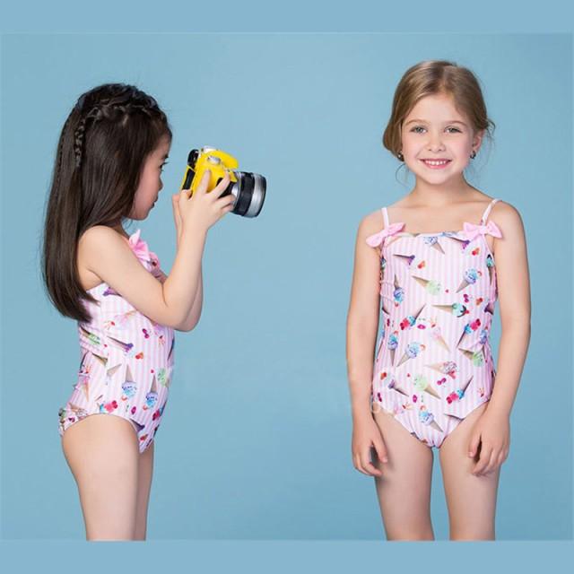 こども アイス柄 水着 速乾 ワンピース水着 子供 80~150cm 女児 ピンク 女の子 オールインワン水着 セパレート