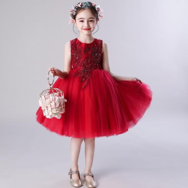 3色 子供 ドレス フレア 膝丈 ミニ おしゃれ 可愛い 袖なし プリンセス 高級感 キッズドレス ピアノ 発表会 女の子 ドレス 子ども 誕生日