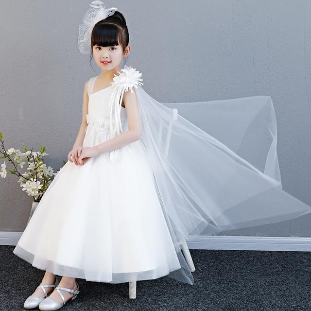子供 ドレス ロング プリンセス かわいい 白 おしゃれ キッズドレス ピアノ 発表会 誕生日 女の子 ドレス 子ども 結婚式 フォーマル ロン