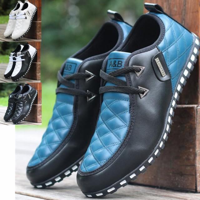 メンズ ドライピング 革靴 デッキシューズ チェック柄 切替 スニーカー ローファー スリッポン 軽量 ランニング カジュアル