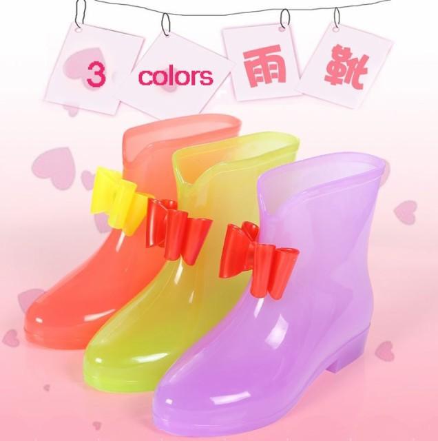 通学 防水 雨靴 シンプル オシャレ 【人気新作】子供 レインブーツ 雨雪対策 滑り止める ショートレインブーツ 可愛い 12742