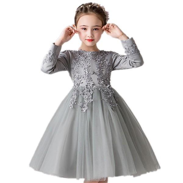 c95e1f6ec586e 韓國子供服フォーマルワンピース女の子長袖姫系レース入園式ピアノ結婚式発表會入學式姫様ドレス七五三