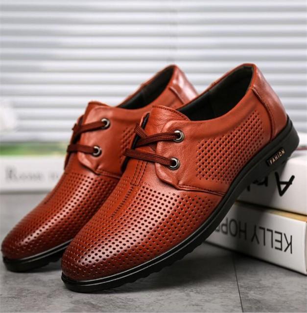 メンズ ビジネスシューズ メッシュフォーマルシューズ 革靴 透かし雕り 紳士靴 レースアップ 通気 美脚