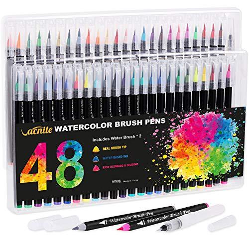 送料無料 VACNITE 水彩毛筆 カラー筆ペン 48色セット 水性筆ペン 水彩ペン 絵描き 塗り絵 アートマーカー 美術用 事務用 画材 子供用画材