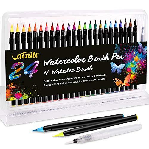 送料無料 VACNITE 水彩毛筆 カラー筆ペン 24色セット 水性筆ペン 水彩ペン 絵描き 塗り絵 アートマーカー 美術用 事務用 画材 子供用画材