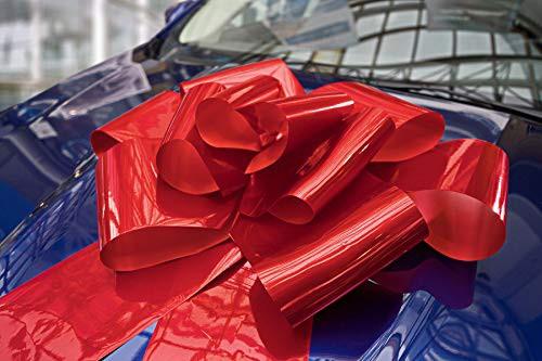 Kenley 23インチ大型赤マグネット式自動車用蝶リボン飾り。56インチのリボン紐付き