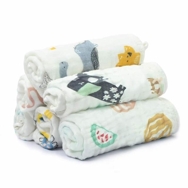 【 ガーゼハンカチ 赤ちゃん 】 敏感肌の赤ちゃんも安心なガーゼタオル ループ付き 6重ガーゼ ベビー 綿100% 保育園 30×30cm 6枚セット