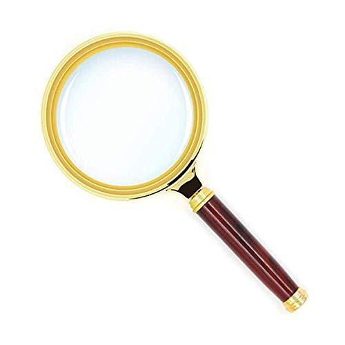 手持ちルーペ 拡大鏡 高級感 5-10倍拡大 直径80mm 木製手持ち虫眼鏡 携帯便利 地図 雑誌 新聞 読書用 子ども、高齢者及び専門家使用可能