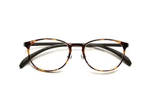 ピントグラス シニアグラス (老眼鏡1本で度数:+0.60D 〜 +2.50Dの累進設計) 軽量かつ柔軟性を備えるタイプ (鼈甲)