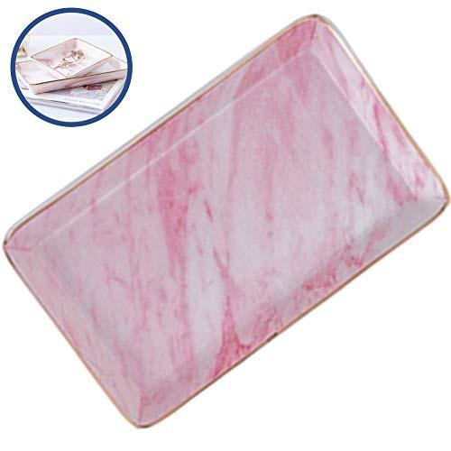 アクセサリートレイ アクセサリー収納 小物入れ ジュエリー収納 ジュエリートレイ 可愛い おしゃれ インテリア 置物 陶器 長方形 (ピンク