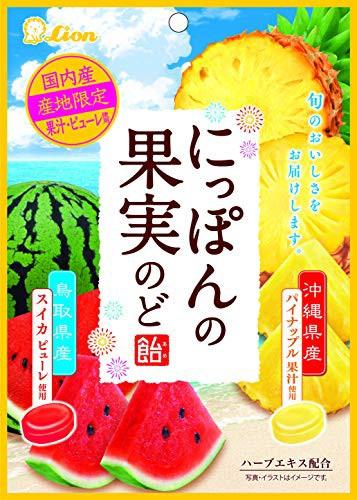 ライオン菓子 にっぽんの果実のど飴(スイカとパイナップル) 72g ×6袋