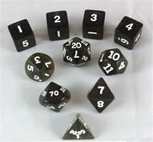 ボードゲーム ダイス/サイコロ Transparent Polyhedral(多面体) Smoke/White 10個セット[並行輸入品]