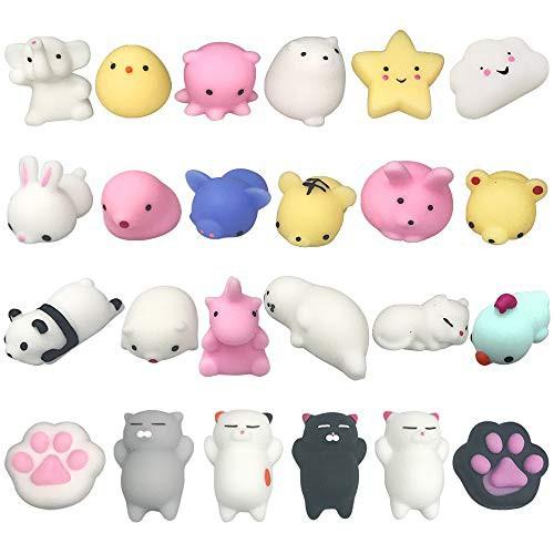 24個セット スクイーズ 低反発 動物 おもちゃ 豚猫など 可愛いソフト ストレス解消おもちゃ 子供景品 プレゼント