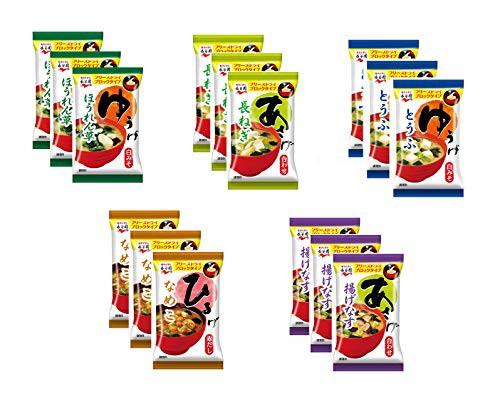 永谷園 フリーズドライ5種15色セット(各3食) 味噌汁 みそ汁 あさげ ひるげ ゆうげ