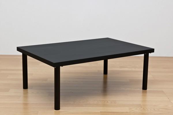 フリーローテーブル(作業台/PCデスク/センターテーブル) 長方形 幅90cm×奥行60cm 天板厚3cm ブラック(黒)