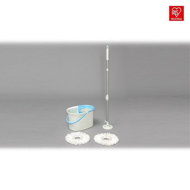 アイリスオーヤマ 回転モップ 手回しタイプ 本体 バケツセット モップ洗浄機能付き 30×52×30cm KMT-420