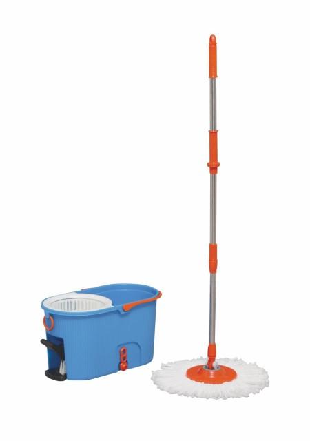 【バケツ付き】アイリスオーヤマ 回転モップ 手が汚れない 足踏み 大型 本体 楽々 洗浄 脱水 KMO-540S