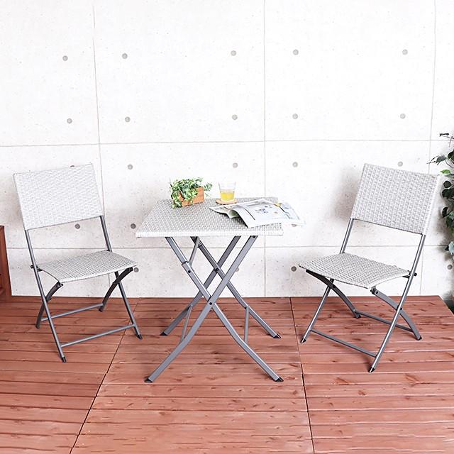 ヤマソロ ガーデン 庭 テーブル チェア ティアム ラタン調 ガーデニング 3点セット イス ベランダ エクステリア