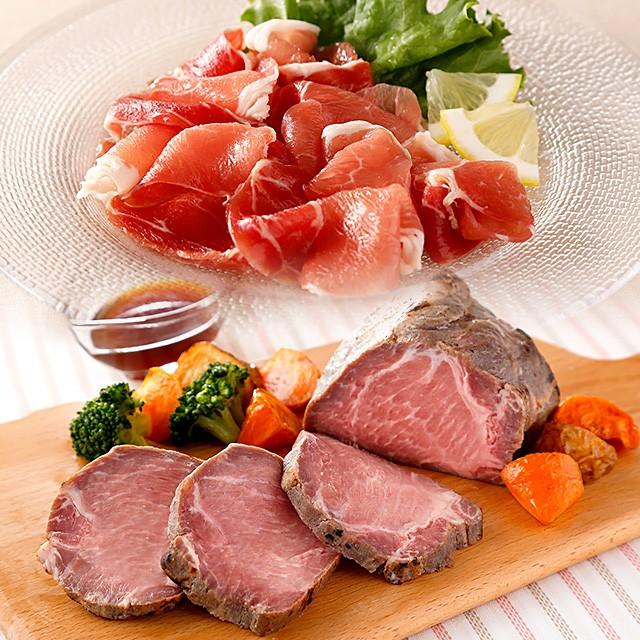 お中元 国産豚肩ロース使用直火焼きローストポークと鹿児島黒豚もも生ハム切落しのセット