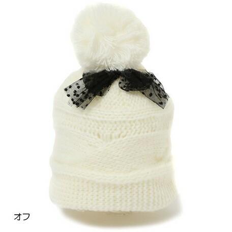 3000円以上送料無料 帽子 キッズ 小物 チュールリボン ボンテン ニット帽 子供服 洋品