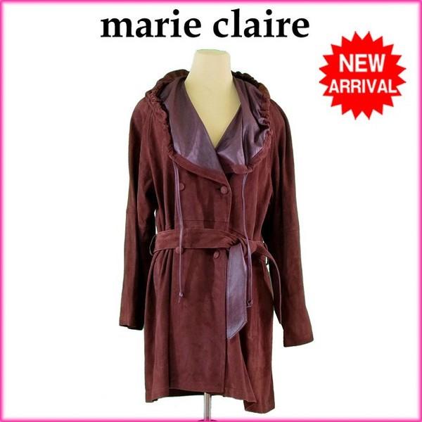 マリクレール marie claire コート ダブル ロング レディース ♯9サイズ フード付き スエード [中古] 良品 セール H235