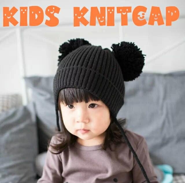 子供用 ニット帽 ボンボン付き リブニット 顎ひも付き 耳付き ニットキャップ ベビー