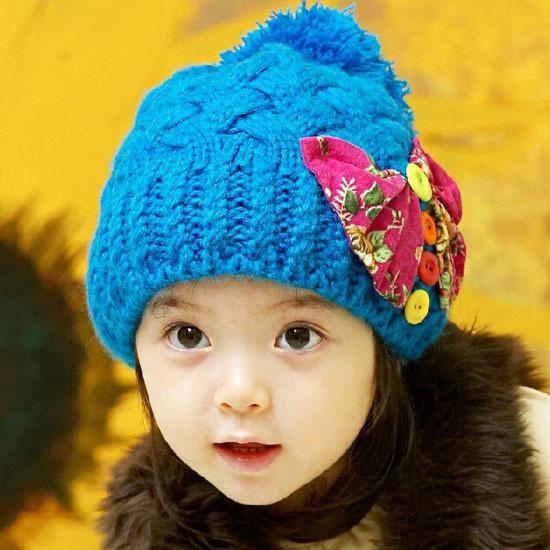 キッズ・帽子・ニット帽・女児・リボン・ボタン・ボンボン・防寒・女の子・かわいい