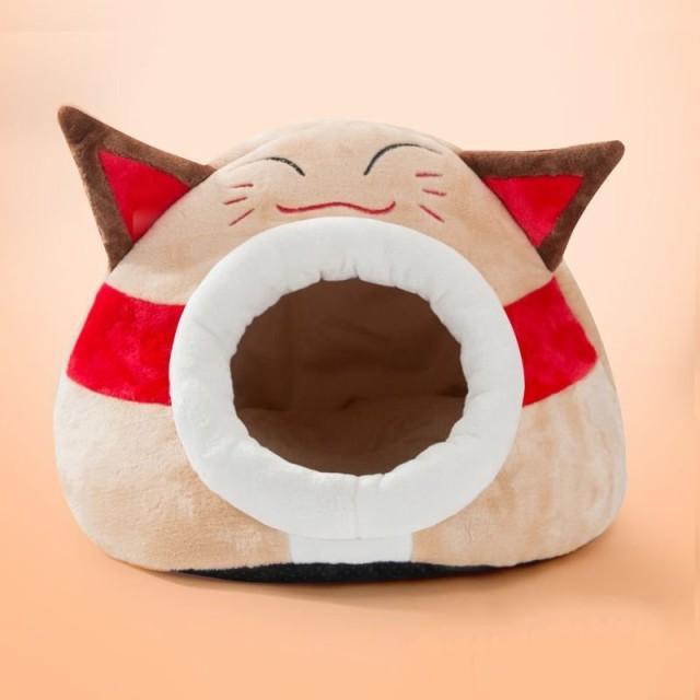ドーム型 ペットベッド 立体的な耳 猫の顔 中敷きクッション付き
