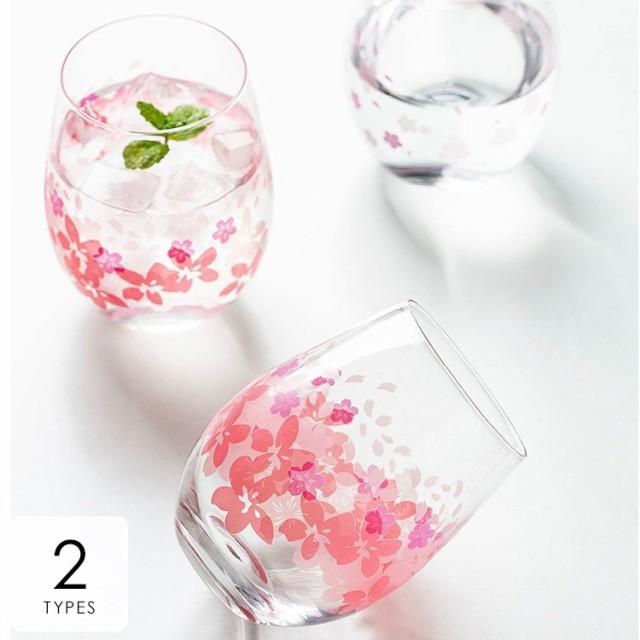 キッチン用品 食器 お茶用品 コップ グラス 透明 花柄 桜 さくら キュート 春 ジュース 来客用 クリア ピンク清潔感 北欧ナチュラル プレ