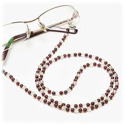 ガーネット × 水晶 メガネチェーン 眼鏡チェーン グラスコード 天然石 パワーストーン