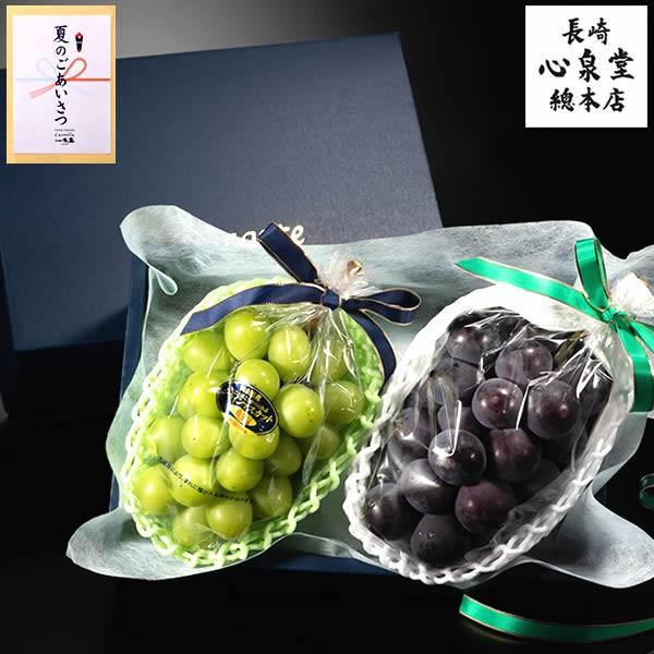 お中元 ギフト フルーツ シャインマスカット ピオーネ SG6E [御中元 岡山 化粧箱 マスカット 果物 ぶどう 葡萄 ブドウ クール便] 贈り物