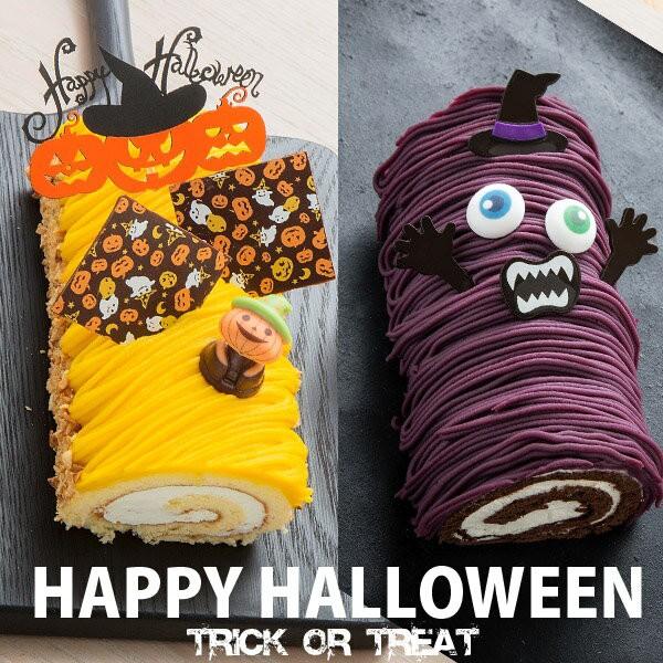 ハロウィン 送料無料 マジックパンプキンロール びっくりおばけ 紫芋モンブランロールセット かぼちゃ モンブラン ロールケーキ 誕生日