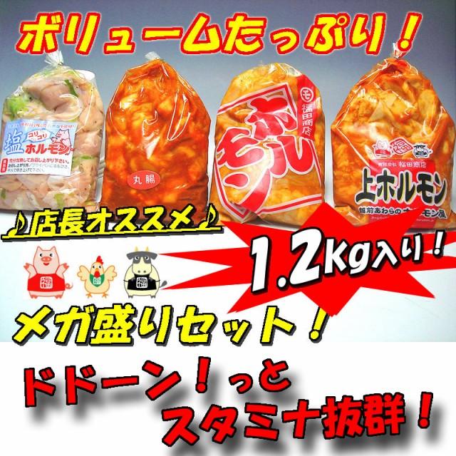 訳あり 人気ホルモン4種盛りセット 1.2kg入り 肉 バーベキュー 送料無料 焼肉 もつ BBQ