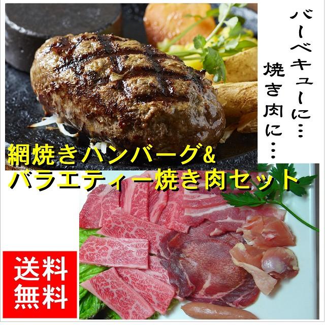 網焼きハンバーグ150g×2個&バラエティー焼肉セット【送料無料】 赤字/バーべQ/スタミナ