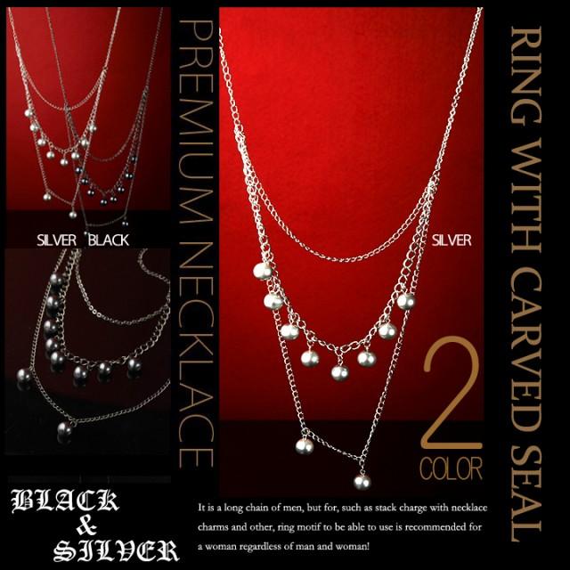数珠ネックレス メンズ ネックレス 3連トリプル 数珠ネックレス SILVER BLACK アンティーク