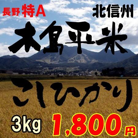 【木島平米】3kg 長野県産コシヒカリ 木島平村限定 1 800円