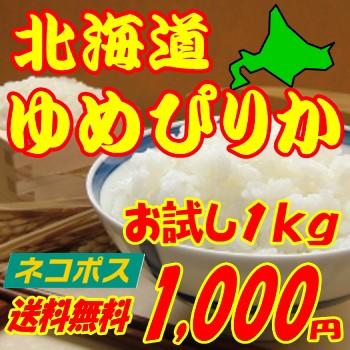 北海道ゆめぴりか1kg お試し1kg送料無料 玄米 白米 分搗き選択可能