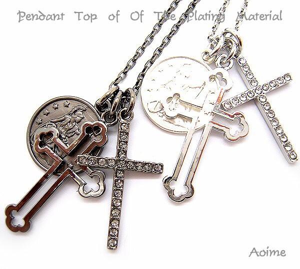 クロス 十字架 コイン ネックレス ペンダント 3トップ アクセサリー チェーン ユニセックス ロングチェーン 4-7755
