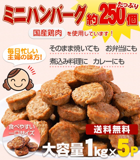 【送料無料】約250個 メガ盛りひとくちハンバーグ(国産鶏肉使用)1kg×5P レンジ調理OK 簡単調理 訳あり お惣菜 お弁当 業務用 お試し B