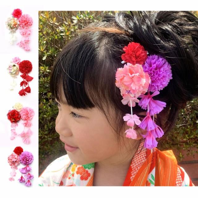 七五三 髪飾り 3歳 7歳 ピンク 赤 白 紫 フラワー 花 ヘアクリップ 3点セット 4カラー ヘアピン ヘアアクセサリー 【W15-】 子供 かみか