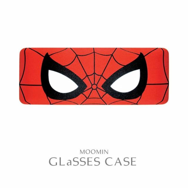 メガネケースクリーナークロス付スパイダーマンフェイスマーベルMARVELアメコミヒーローサングラスハードケーススクエアポーチメガネ拭き