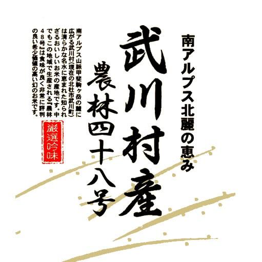 日本の名米100選 令和元年産武川米農林48号-ヨンパチ 小澤義章 監修 白米 10kg (玄米/無洗米 選択可)