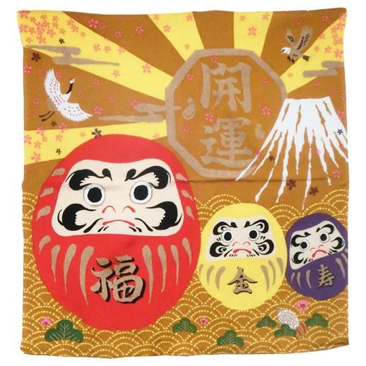 お祝い用 縮緬風呂敷(開運だるま) お米5kg袋サイズに対応した風呂敷です。 贈答対応可能(68cmx68cm) (投函便・メール便 送料無料)